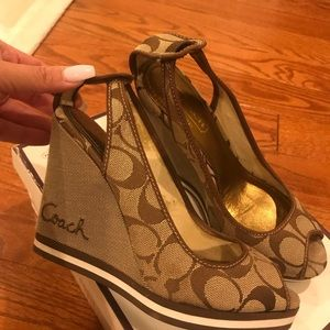 Authentic Coach Wedge Slingback Heels Shoes